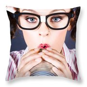 Big Business Kid Making Phone Call With Tin Cans Throw Pillow