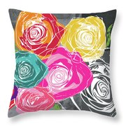Big Colorful Roses 2- Art By Linda Woods Throw Pillow
