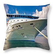 Big Docked Cruise Ship View Throw Pillow