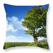 Big Elm Tree Near Corn Field Throw Pillow
