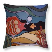 Big Fish And Little Fish Throw Pillow