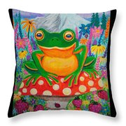 Big Green Frog On Red Mushroom Throw Pillow