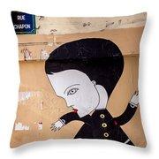 Big Head On Rue Chapon Throw Pillow
