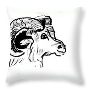 Big Horn Sheep  Sketch Throw Pillow