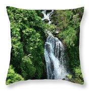 Big Island Waterfall Throw Pillow