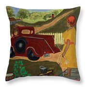 Big Mama Red Truck Throw Pillow