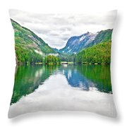 Big Mountain Reflections In Patterson Bay Alaska Throw Pillow