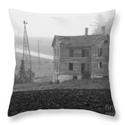 Big Old House In Fog - Bw Throw Pillow