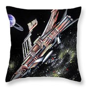 Big, Old Space Shuttle Of Dead Civilization Throw Pillow