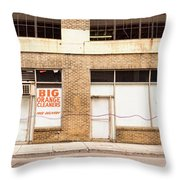 Big Orange Cleaners Throw Pillow