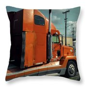 Big Orange Truck Throw Pillow