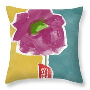 Big Purple Flower In A Small Vase- Art By Linda Woods Throw Pillow