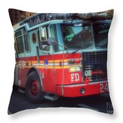 Big Red Engine 24 - Fdny - Firefighters Of New York Throw Pillow