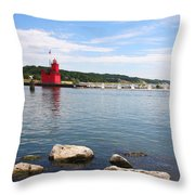 Big Red Light On The Lake Throw Pillow