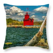 Big Red Lighthouse In Michigan Throw Pillow