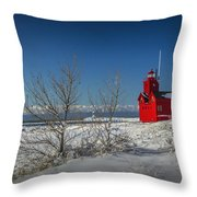Big Red Lighthouse In Winter Throw Pillow