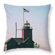 Big Red Lighthouse Throw Pillow