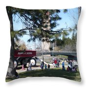 Big Red Wagon In Riverfront Park Throw Pillow
