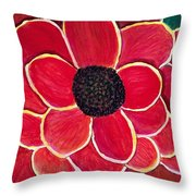 Big Red Zinnia Flower Throw Pillow
