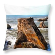 Big Rocks In Grey Water Painting Throw Pillow