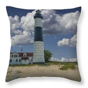 Big Sable Lighthouse Under Cloudy Blue Skies Throw Pillow