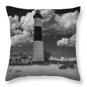Big Sable Lighthouse Under Cloudy Skies Throw Pillow