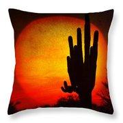 Big Saguaro Sunset Throw Pillow