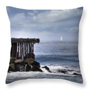 Big Sea Small Boat Throw Pillow