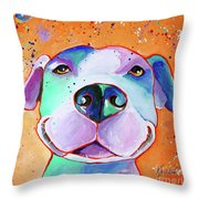 Big Smile - Dog Art By Valentina Miletic Throw Pillow