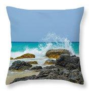 Big Splash On Rocks Of Playa Brava Throw Pillow