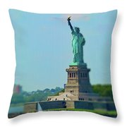 Big Statue, Little Boat Throw Pillow