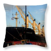 Big Tanker In The Harbor Throw Pillow
