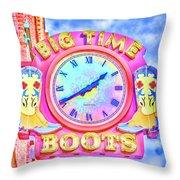 Big Time Boots - Nashville Hot Pink Throw Pillow
