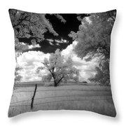big tree in field IR Throw Pillow
