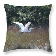 Big White Bird Flying Away Throw Pillow