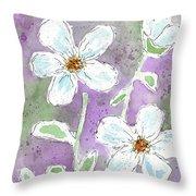 Big White Flowers Throw Pillow
