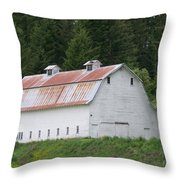 Big White Old Barn With Rusty Roof  Washington State Throw Pillow