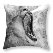 Big Yawn  Black And White Throw Pillow