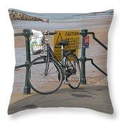 Bike Against Railings Throw Pillow