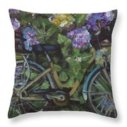 Bike And Bush Throw Pillow