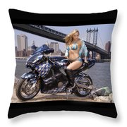 Bike, Babe, And Bridge In The Big Apple Throw Pillow