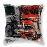 Bike Flat Tire Abandoned India Rajasthan Blue City 2a Throw Pillow