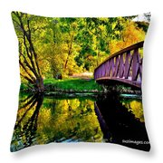 Bike Path Bridge Throw Pillow