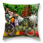 Bike Repair Shop On Wheels Throw Pillow