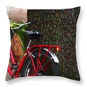 Bike Resting Throw Pillow
