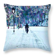 Bike Riding In The Snow Throw Pillow by Bill Cannon