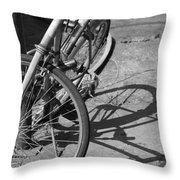 Bike Shadow Throw Pillow