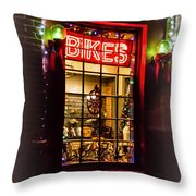 Bike Shop Window Throw Pillow