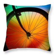 Bike Silhouette Throw Pillow by Garry Gay