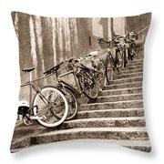 Bike Stairs Zurich Throw Pillow